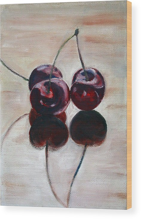 Food Wood Print featuring the painting Three Cherries by Sarah Lynch
