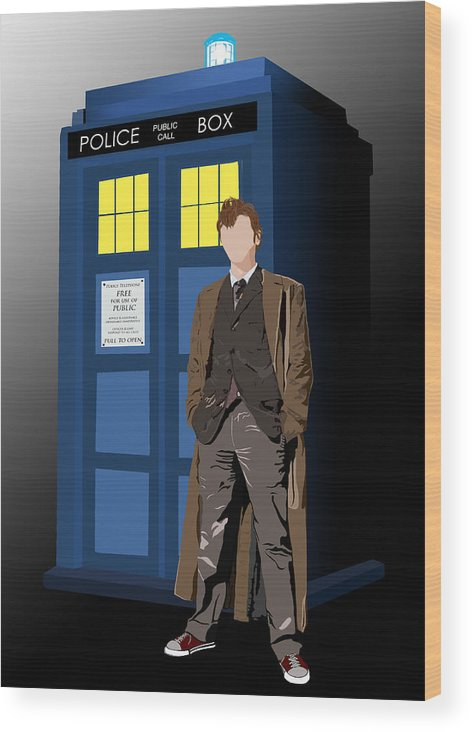 Doctor Who Wood Print featuring the digital art Time Lord And His Tardis by Jennifer Urciuolo