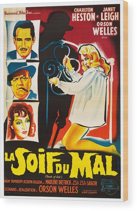 1950s Poster Art Wood Print featuring the photograph Touch Of Evil, Aka La Soif Du Mal, Left by Everett