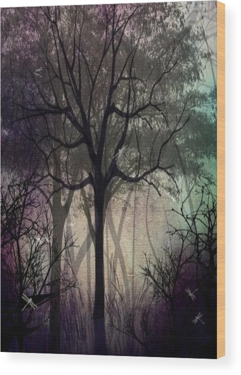 Trees Wood Print featuring the digital art Twilight Forest by Charlene Zatloukal