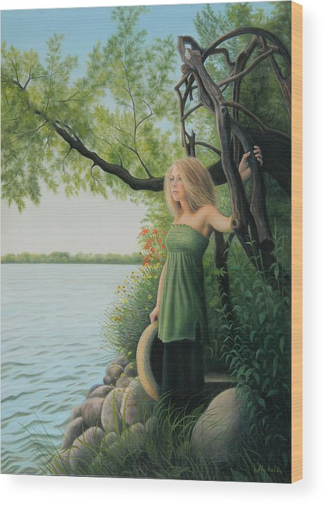 Realistic Wood Print featuring the painting Under The Arbor by Holly Kallie
