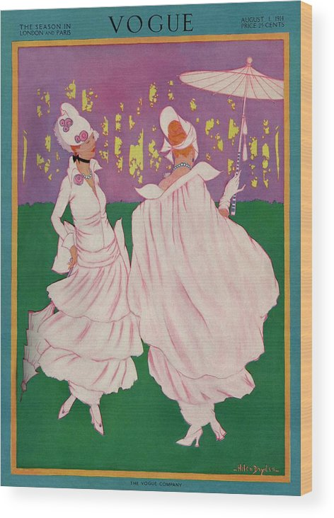 Illustration Wood Print featuring the photograph Vogue Cover Featuring Two Women In Pink Gowns by Helen Dryden