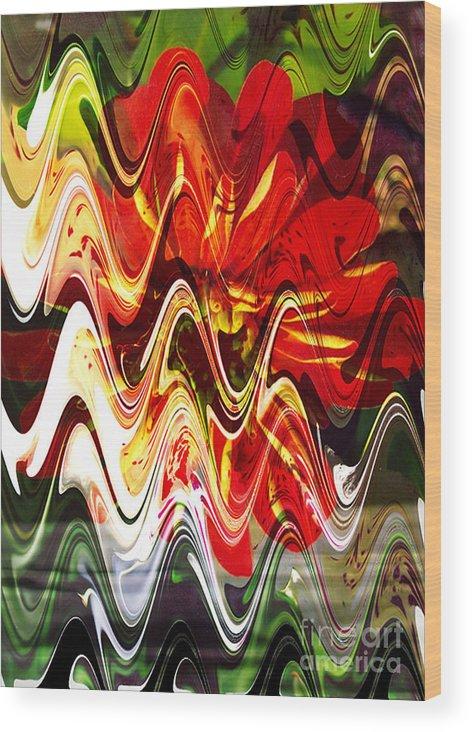 Digital Image Wood Print featuring the digital art Waves by Yael VanGruber