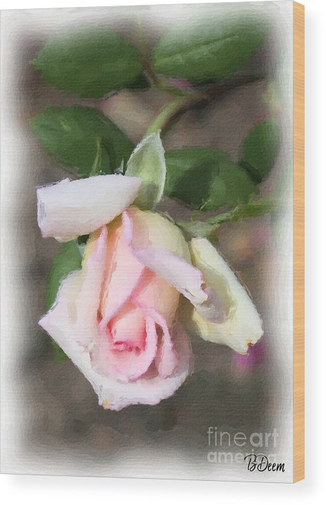 Pink Rose Wood Print featuring the painting Pink Rose by Brenda Deem