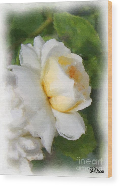 Yellow Rose Wood Print featuring the painting Yellow Rose by Brenda Deem