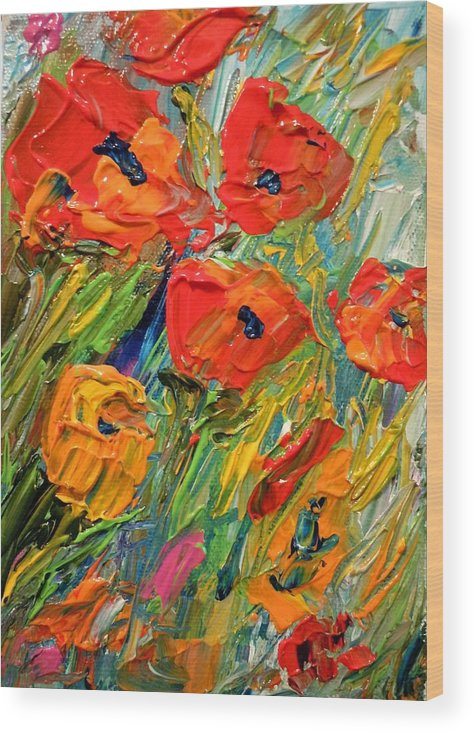Flowers Wood Print featuring the painting Abstract Poppies by Barbara Pirkle