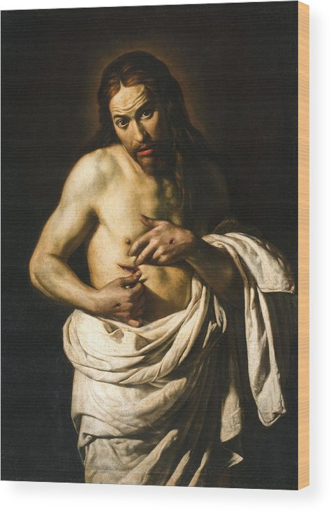 Giacomo Galli Wood Print featuring the painting Christ Displaying His Wounds by Giacomo Galli