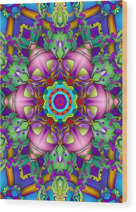 Digital Wood Print featuring the digital art Kaleido 40-12 by Bart Borland