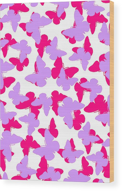 Butterfly Wood Print featuring the digital art Layered Butterflies by Louisa Knight