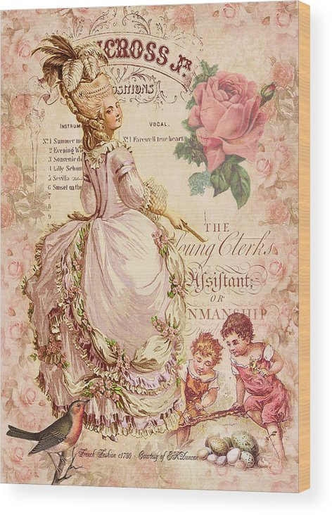 Fashion Plate Wood Print featuring the digital art Mademoiselle Couture by Sarah Vernon