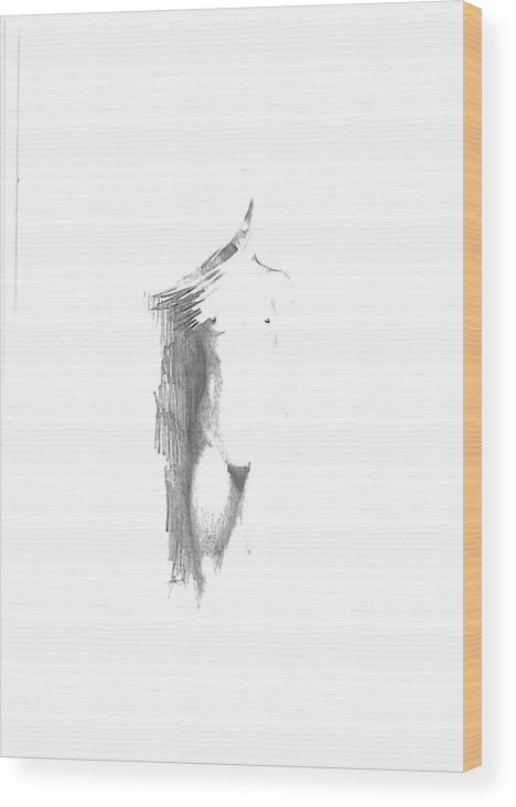 Nude Wood Print featuring the drawing Nude Wind by Leon Jansen van Vuuren