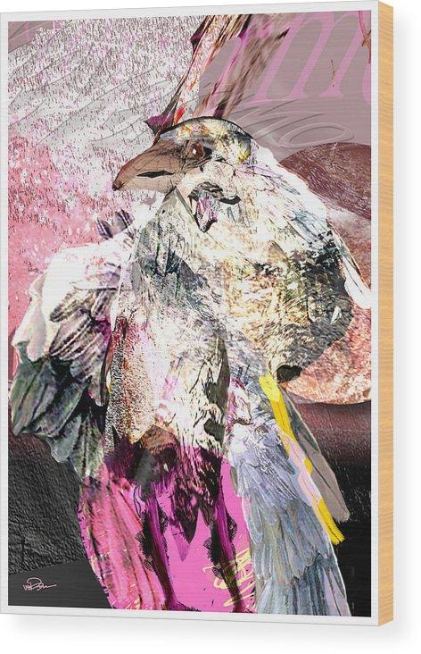 Bird Wood Print featuring the digital art Raven 6 by James VerDoorn
