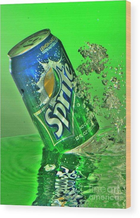 Splash Photography Wood Print featuring the photograph Sprite Splash by Corky Willis Atlanta Photography