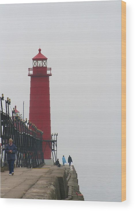 Lighthouse Wood Print featuring the photograph The End by Odd Jeppesen