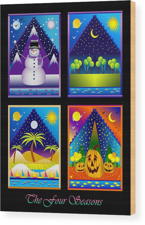 Card Wood Print featuring the digital art The Four Seasons by Nancy Griswold