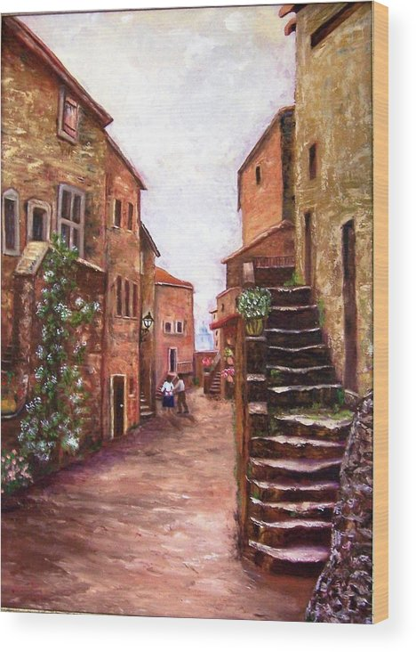 Italy Wood Print featuring the painting Up The Alley by Renate Voigt