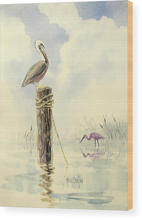 Pelican Wood Print featuring the painting Watchful Eye by Gary Partin