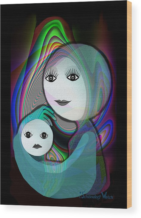 Mother And Child Wood Print featuring the painting 044 - Full Moon Mother And Child  by Irmgard Schoendorf Welch