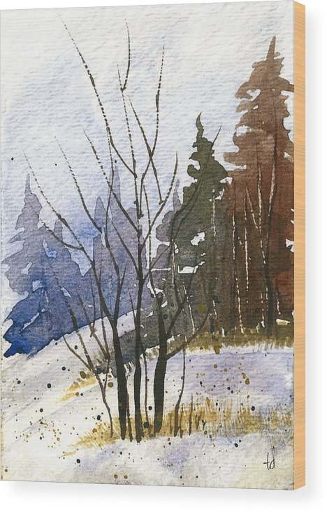 Snow Wood Print featuring the painting Branches by Tonya Doughty