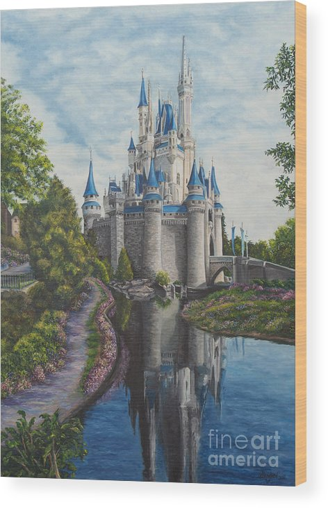 Disney Art Wood Print featuring the painting Cinderella Castle by Charlotte Blanchard