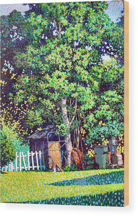 Landscape Wood Print featuring the painting Hackberry Tree by Kevin Lawrence Leveque