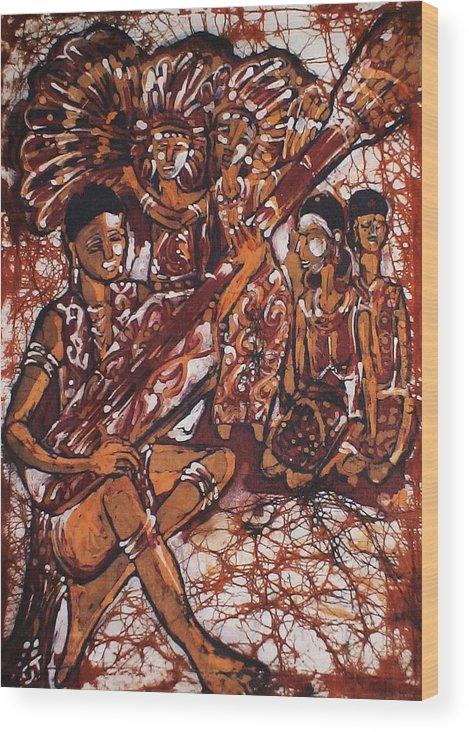Batik Wood Print featuring the painting Iban Sape by Nicholas Lim