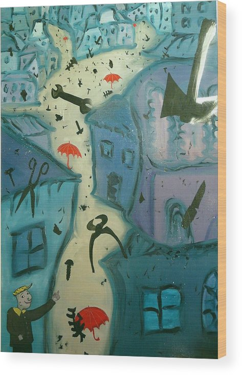 Surrealist Wood Print featuring the painting It Is Raining In My Little Village by Zsuzsa Sedah Mathe