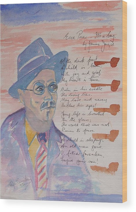 Limited Edition Print Wood Print featuring the painting James Joyce by Roger Cummiskey