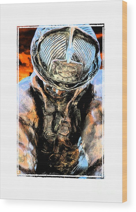 Firefighter Wood Print featuring the digital art Memorial To A Hero by Tommy Anderson