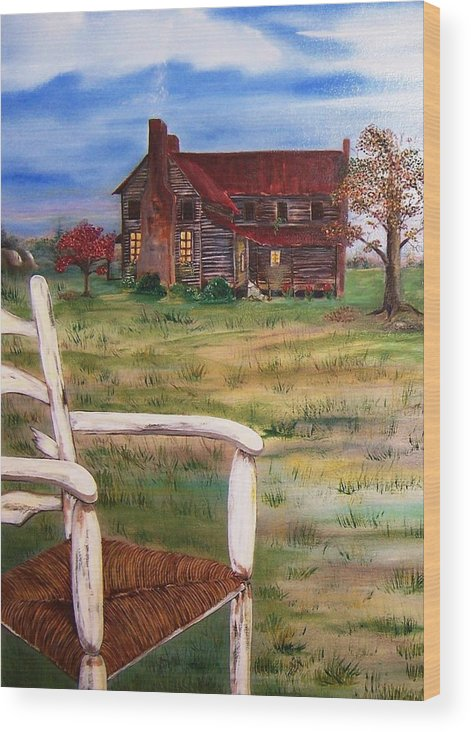 Landscape Wood Print featuring the painting Old Home by Penny Everhart