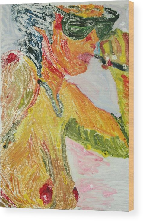 Nude Wood Print featuring the painting Yellow Smoker by John Toxey