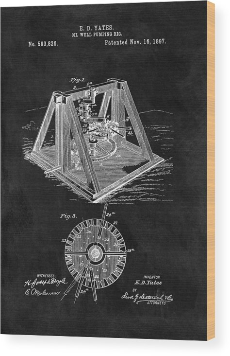 1897 Oil Rig Patent Wood Print featuring the drawing 1897 Oil Well Rig Patent Design by Dan Sproul