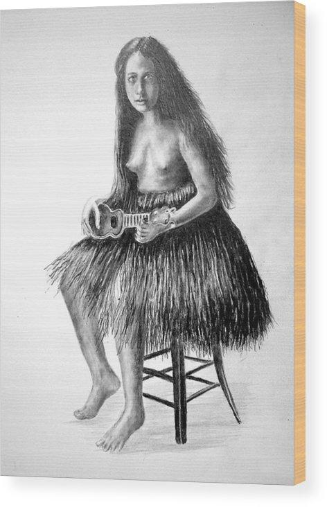 Hawaiian Girl Wood Print featuring the painting 1919 Hawaiian Girl by Paul Sandilands