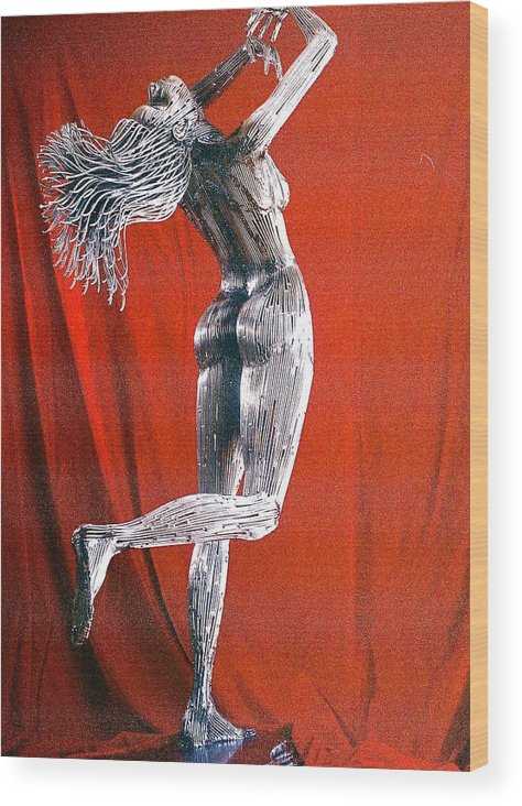 Nude Figure Wood Print featuring the sculpture Evolution Of Eve Figure 2 by Greg Coffelt
