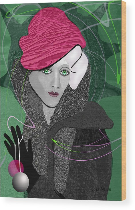 Green Wood Print featuring the painting  692 Decembers Lady A by Irmgard Schoendorf Welch