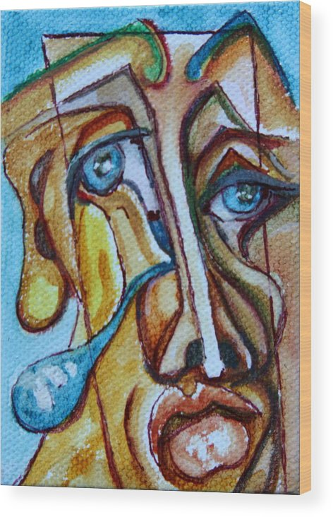 Abstract Portrait Wood Print featuring the painting A Cast Of Characters Nine by Dan Earle