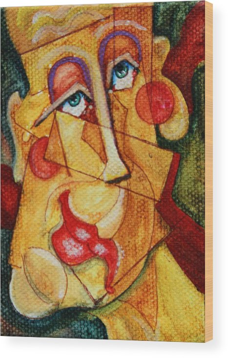 Abstract Portrait Wood Print featuring the painting A Cast Of Characters Seven by Dan Earle