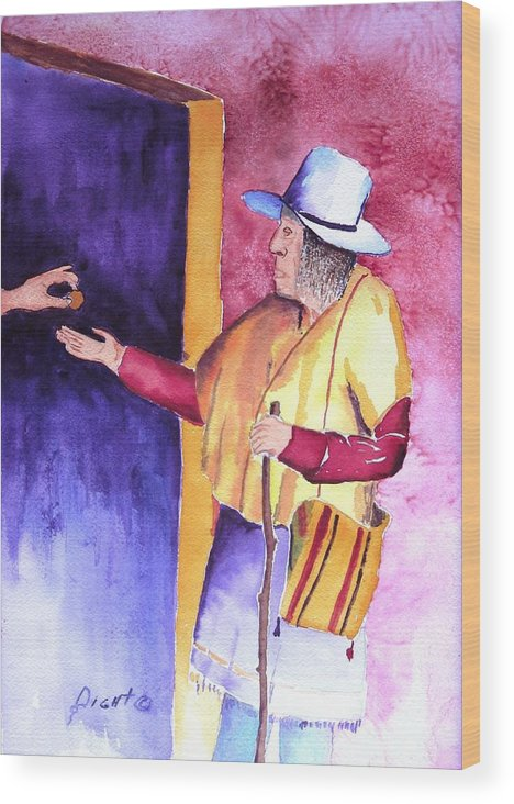 Oldman Wood Print featuring the painting A Helping Hand by Buster Dight