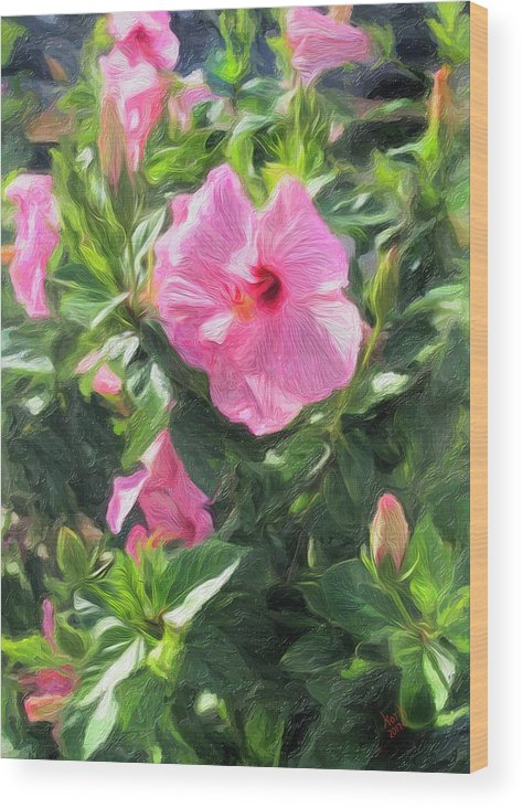 Wood Print featuring the digital art A Pink Hibiscus by Patrick J Gallagher