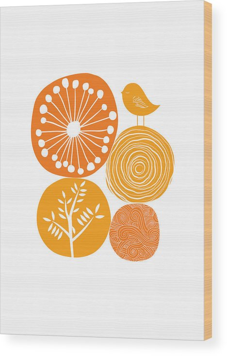 Nature Wood Print featuring the digital art Abstract Nature Orange by BONB Creative