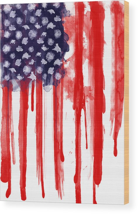 America Wood Print featuring the painting American Spatter Flag by Nicklas Gustafsson