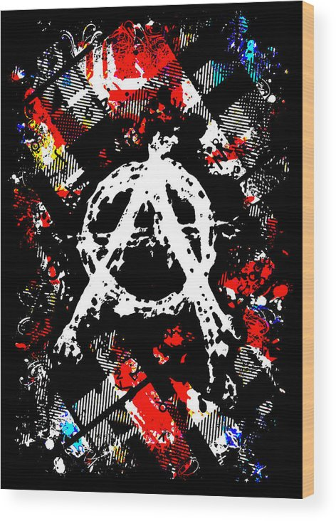 Punk Wood Print featuring the digital art Anarchy Punk by Roseanne Jones