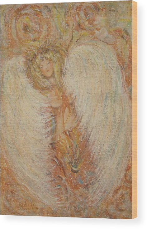 Angel Wood Print featuring the painting Angel Loves You by Natalie Holland