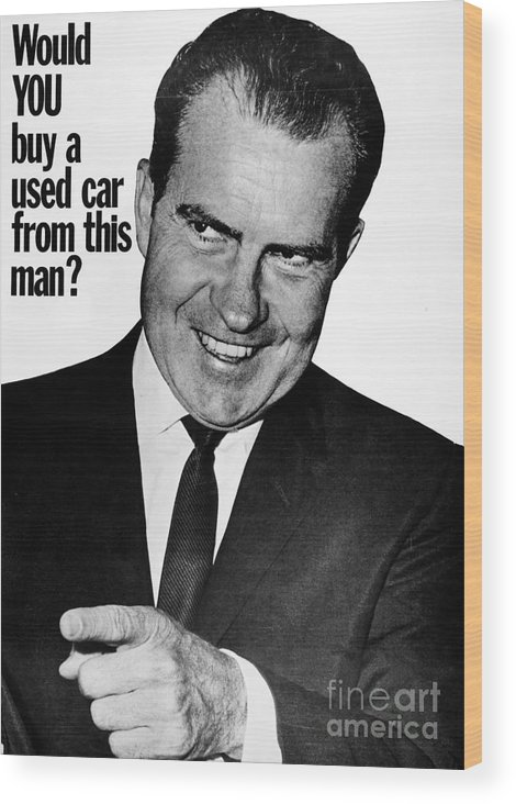 1960 Wood Print featuring the photograph Anti-nixon Poster, 1960 - To License For Professional Use Visit Granger.com by Granger
