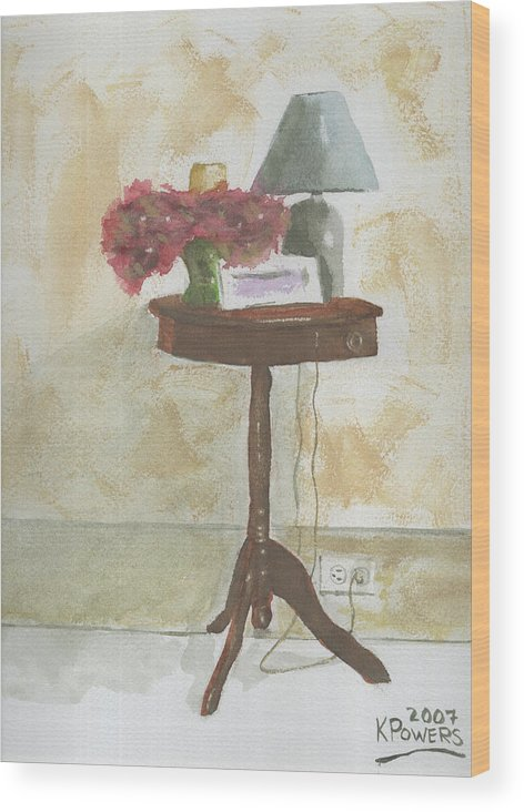 Table Wood Print featuring the painting Antique Table by Ken Powers
