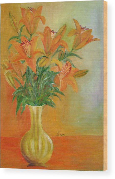 Floral Wood Print featuring the painting Autumn Profusion by Lian Zhen