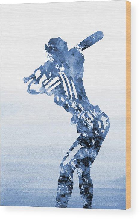 Baseball Girl Wood Print featuring the digital art Baseball Girl-blue by Erzebet S
