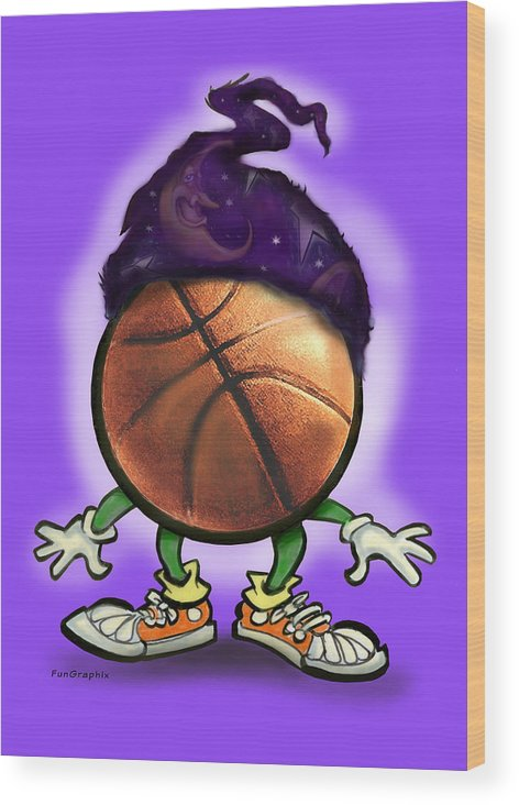 Basketball Wood Print featuring the greeting card Basketball Wizard by Kevin Middleton