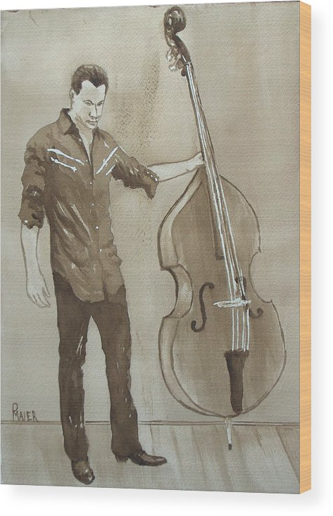 Music Wood Print featuring the painting Bass Man by Pete Maier