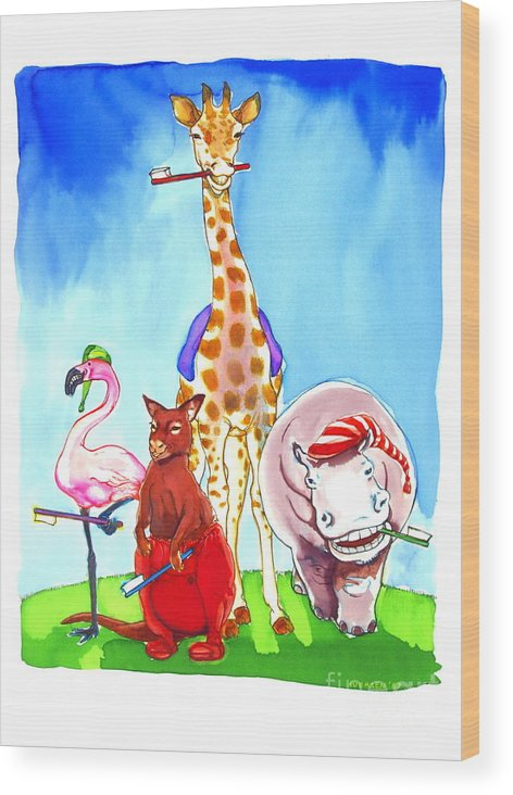 Wildlife Wood Print featuring the painting Bedtime Animals by Jill Iversen